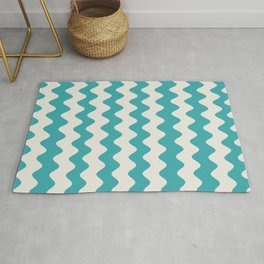 Teal Turquoise Aqua and Alabaster White Wavy Vertical Rippled Stripe Pattern - Aquarium SW 6767 Rug