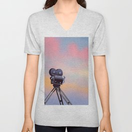 Vintage Movie camera sunset Unisex V-Neck