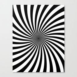 Black And White Spiral Stripes Canvas Print