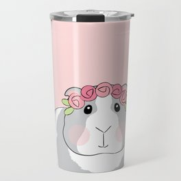 Adorable Grey Guinea Pig with Pink Rosebuds Travel Mug