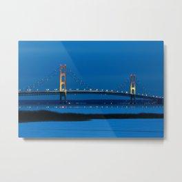Mackinac Bridge at Blue Hour Metal Print