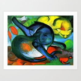 """Franz Marc """"Two Cats, Blue and Yellow' Art Print"""