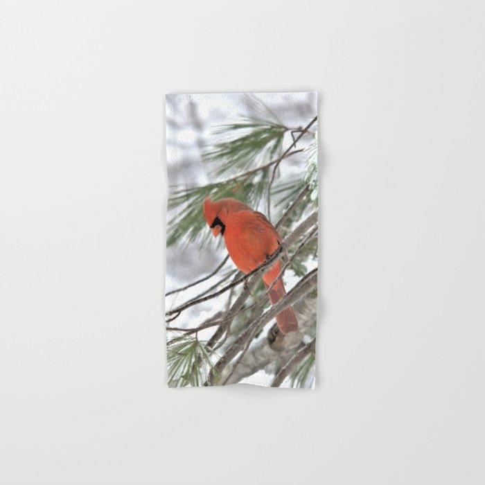 Snow Globe Cardinal (square) Hand & Bath Towel