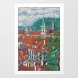 Morning in Prague Czech Cityscape Pastel Painting Art Print