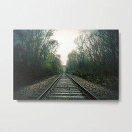 Creepy foggy railroad Metal Print
