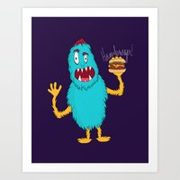 hamburger Art Prints featuring Hamburger! by Chelsea Herrick