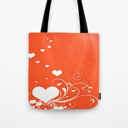 White Valentine Hearts On Red Background Tote Bag