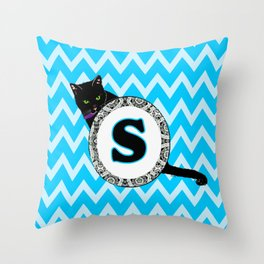 Letter S Cat Monogram Throw Pillow