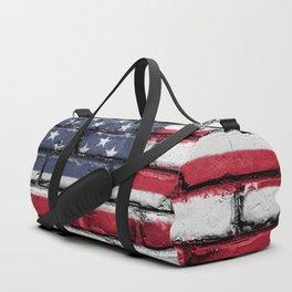 US Flag Painted on Wall Peeling on a City Street Art Duffle Bag