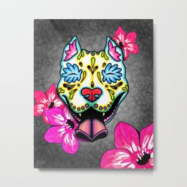 Slobbering Pit Bull - Day of the Dead Sugar Skull Pitbull Metal Print