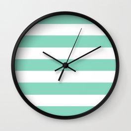 Pearl Aqua - solid color - white stripes pattern Wall Clock