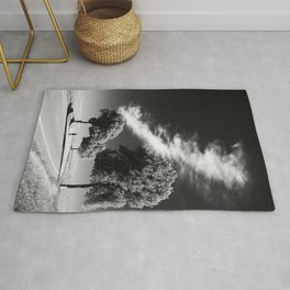 GRAYSCALE PHOTO OF PERSON ON ROAD BETWEEN TREES Rug