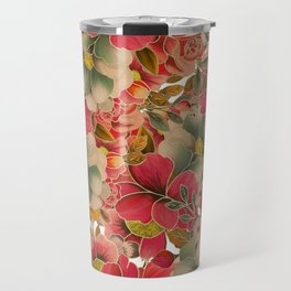 Elegant red coral green gold watercolor floral Travel Mug