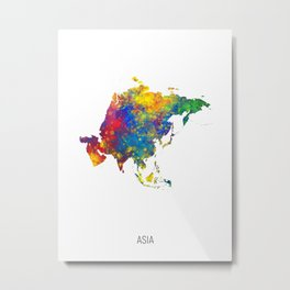 Asia Watercolor Map Metal Print