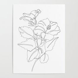 Floral one line drawing - Hibiscus Poster