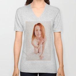 8726s-MM Clear Eyed Art Nude Model Red Hair High Key Light Unisex V-Neck