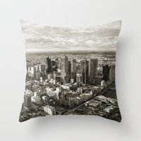 melbourne Throw Pillows featuring Melbourne City by Ewan Arnolda