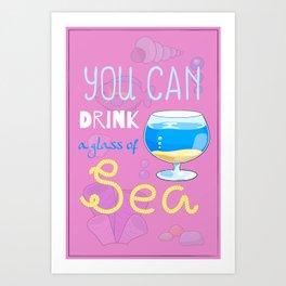 Sea-lover Cartoon Poster with Fish Tank Art Print