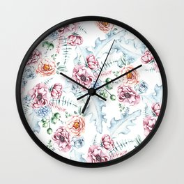 Hand painted pink blue watercolor modern floral Wall Clock