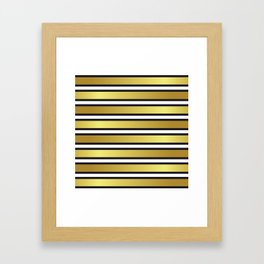 Luxe Gold Metallic and Black Stripes Pattern Framed Art Print