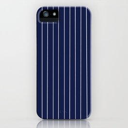 Navy Blue with White Pinstripes iPhone Case