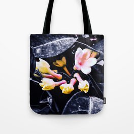 black and white leaves pink yellow white flowers jasmine Tote Bag