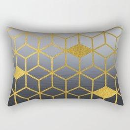 Black Night Sea Gradient Gold Geometric Cubes Pattern Rectangular Pillow