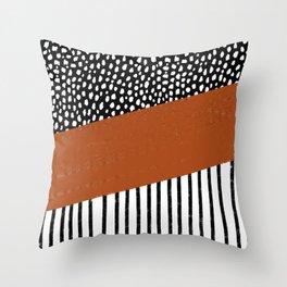 Polka Dots and Stripes Pattern (black/white/burnt orange) Throw Pillow