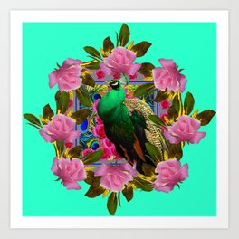 GREEN PEACOCK &  PINK ROSE GARDEN TURQUOISE ART Art Print