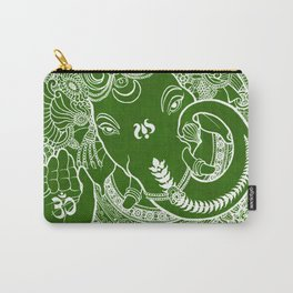 Ganesha Lineart Dark Green Carry-All Pouch