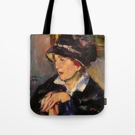 Woman with a Dark Hat Tote Bag