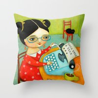 writer Throw Pillows featuring The writer of stories by tascha