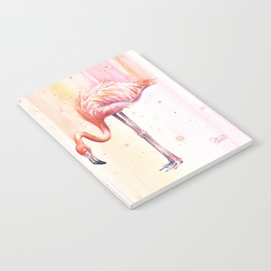 Two Flamingos Watercolor Tropical Birds Animals Notebook