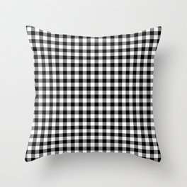 Classic Black and White Western Cowboy Buffalo Check Throw Pillow