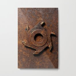 Old milling cutter on rusty metal background Metal Print