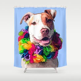 Dog in Flowers Shower Curtain