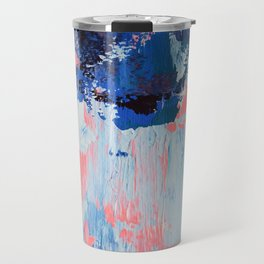 Mixtapes and Bubblegum: a colorful abstract piece in pinks and blues by Alyssa Hamilton Art Travel Mug