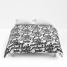cash rules everything around me x typography Comforters