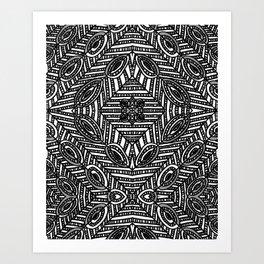 Tile Design Achromatic Art Print