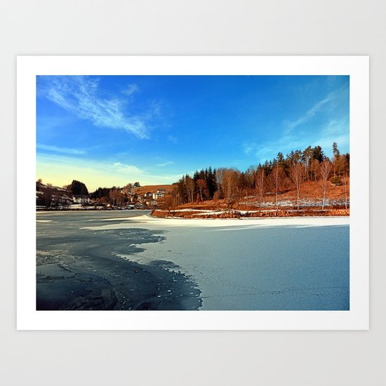 Frozen river panorama | waterscape photography Art Print