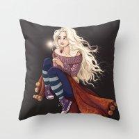 luna lovegood Throw Pillows featuring Luna Lovegood by Laure Lilyvale