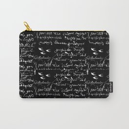White French Script on Black background with White birds Carry-All Pouch