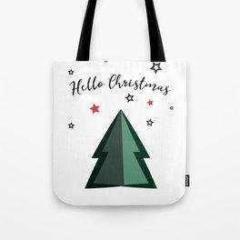 Hello Christmas - Christmas Tree and Stars Tote Bag