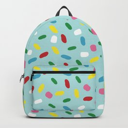 Sweet glazed, with colorful sprinkles on blue melting icing Backpack