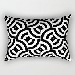 Black And White Pop-Art Circles Rectangular Pillow