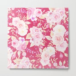 Modern magenta blush pink white watercolor roses floral Metal Print