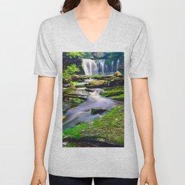 Blackwater Falls State Park Elakala Waterfall Nature West Virginia Landscape Forest Unisex V-Neck