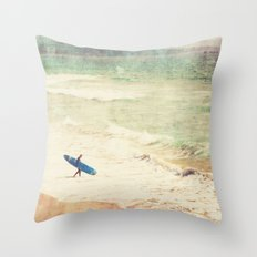 Margin Walker. surfer photograph Hermosa Beach Throw Pillow