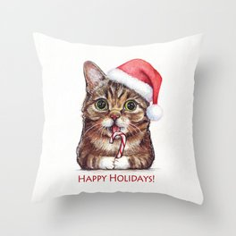 Cat in Santa Hat with Candy Cane Funny Christmas Animal Throw Pillow