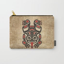 Red and Black Haida Spirit Tree Frog Carry-All Pouch